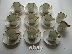 Vtg Limoges SA Castel demitasse CUP SAUCER LOT antique gold coffee tea plate set