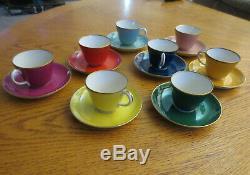 Vtg Set of 8 Richard Ginori Italy Demitasse Espresso Cups Saucers 1920's Antique