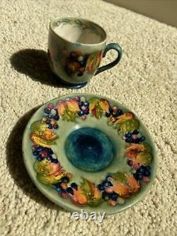 W Moorcroft Art Pottery-Cup and Saucer-Demitasse-Flambe Leaf and Berry 2 1/4