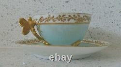 WG & CO. LimogesDragonfly HandleFooted Demitasse Cup & Saucer France