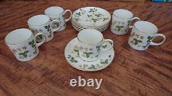 Wedgewood Wild Strawberry 12 piece demitasse cups and saucers