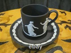 Wedgwood Black Jasperware Demitasse Coffee Cup Saucer Dancing Hours Signed 1994