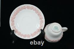Wedgwood Embossed Pink On Cream Grapes Queen's Ware Demitasse Cup & Saucer Set