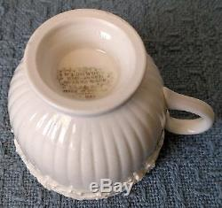 Wedgwood Embossed Queens Ware 7 FOOTED DEMITASSE CUPS and 8 SAUCERS