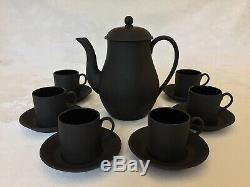 Wedgwood England Black Basalt Demitasse Set (Coffee Pot w Six Cup & Saucer) 1964
