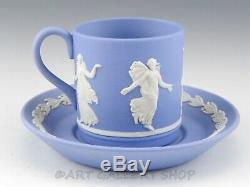 Wedgwood England Jasperware Blue DANCING HOURS DEMITASSE CUPS AND SAUCERS Set 3