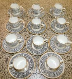 Wedgwood Florentine Black & Gold Bond Demitasse Cups & Saucers (set Of 12)