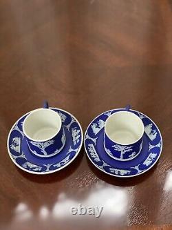 Wedgwood Jasperware Dark Cobalt Blue Demitasse Tea Cup and Saucer Set of 2