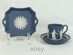 Wedgwood Jasperware Portland Blue Demitasse Cup & Saucer Set With Handle Tray Dish