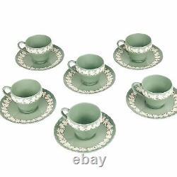 Wedgwood QueensWare Embossed Cream On Celadon Demitasse Cups Saucers (6) Green