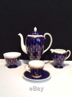 Wedgwood St James Lot Coffee Pot, Creamer, Sugar, 8 Demitasse Cups + Saucers