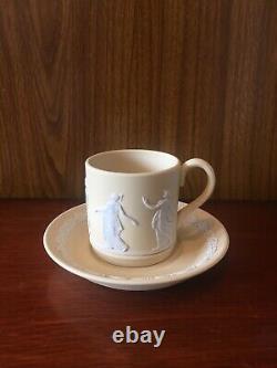 Wedgwood Yellow Jasperware Demitasse Coffee Cup Saucer Dancing Hours