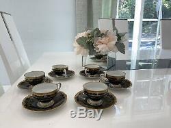Weimar Kobalt Porcelain Katharina (6) Demitasse Set Cups & Saucers, BLACK-Rare