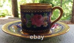 Wilhelm Koch W K Dresden Demitasse Cup & Saucer Set Cobalt Floral Gold Encrusted